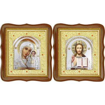 Венчальная пара Икона Спасителя и Казанской Божьей Матери 20-ФСВП-22
