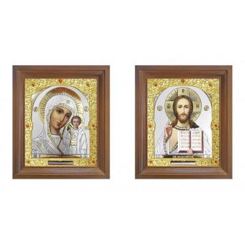 Венчальная пара Икона Спасителя и Казанской Божьей Матери 25-ВП-18