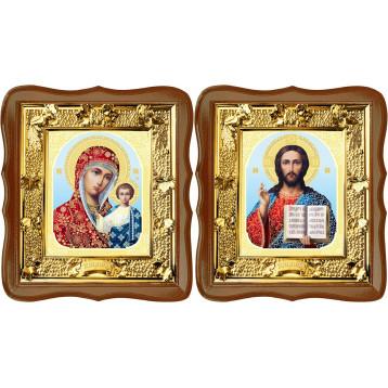 Венчальная пара Икона Спасителя и Казанской Божьей Матери 31-ФВП-8