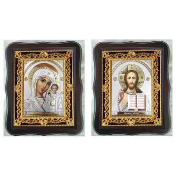 Венчальная пара Икона Спасителя и Казанской Божьей Матери 38-ФВП-18