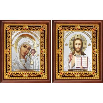 Венчальная пара Икона Спасителя и Казанской Божьей Матери 39-ВП-18