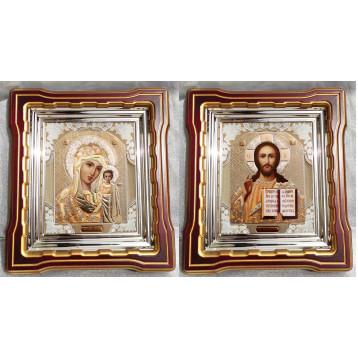 Венчальная пара Икона Спасителя и Казанской Божьей Матери 44-ВП-2