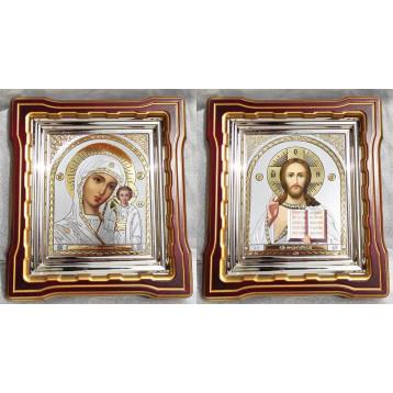 Венчальная пара Икона Спасителя и Казанской Божьей Матери 44-ВП-22