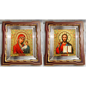 Венчальная пара Икона Спасителя и Казанской Божьей Матери 44-ВП-5