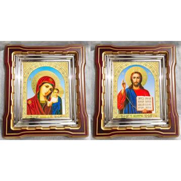 Венчальная пара Икона Спасителя и Казанской Божьей Матери 44-ВП-6