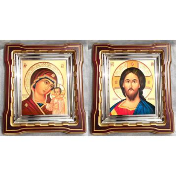 Венчальная пара Икона Спасителя и Казанской Божьей Матери 44-ВП-7