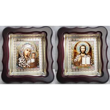 Венчальная пара Икона Спасителя и Казанской Божьей Матери 45-ВП-15