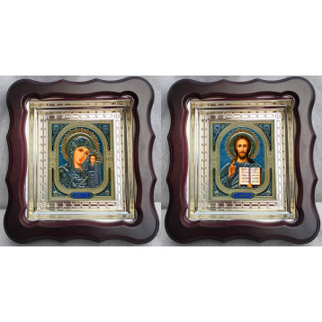 Венчальная пара Икона Спасителя и Казанской Божьей Матери 45-ВП-4
