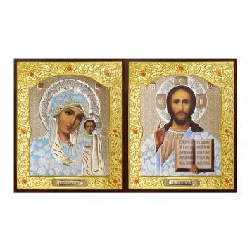 Венчальная пара Икона Спасителя и Казанской Божьей Матери 22-ДВП-1