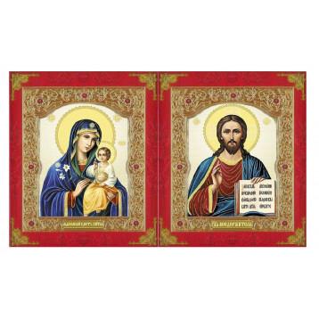 Венчальная пара Икона Спасителя и Неувядаемый цвет Божия Матерь 22-ДВП-11