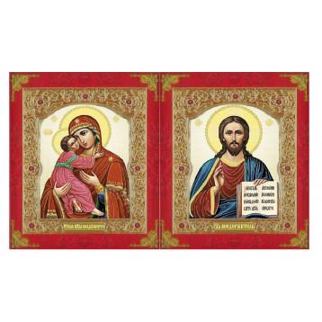Венчальная пара Икона Спасителя и Владимирская Божия Матерь 22-ДВП-12