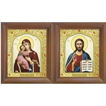 Венчальная пара Икона Спасителя и Владимирская Божия Матерь 25-ВП-12