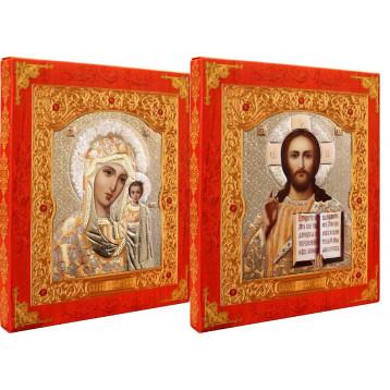 Венчальная пара Икона Спасителя и Казанской Божьей Матери 21-ДВП-2