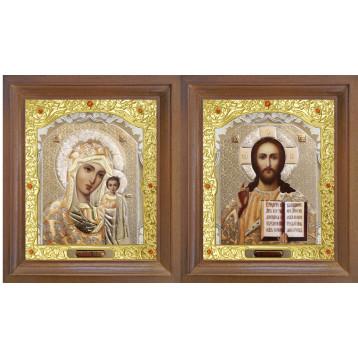 Венчальная пара Икона Спасителя и Казанской Божьей Матери 26-ВП-2