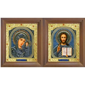 Венчальная пара Икона Спасителя и Казанской Божьей Матери 26-ВП-4
