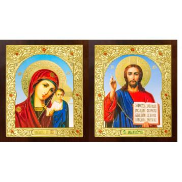 Венчальная пара Икона Спасителя и Казанской Божьей Матери 21-ДПВ-6