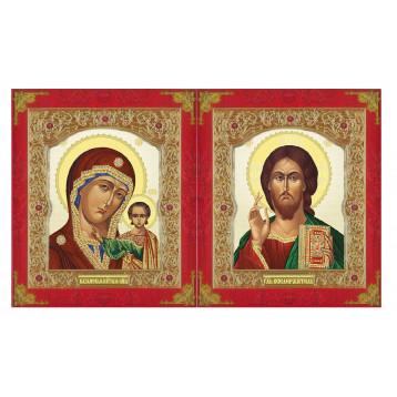 Венчальная пара Икона Спасителя и Казанской Божьей Матери 22-ДВП-7