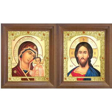 Венчальная пара Икона Спасителя и Казанской Божьей Матери 26-ВП-7