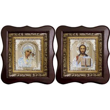 Венчальная пара Икона Спасителя и Казанской Божьей Матери 1012-ФБВП-1