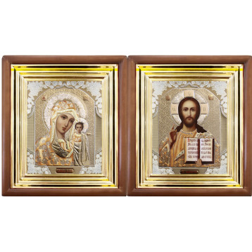 Венчальная пара Икона Спасителя и Казанской Божьей Матери 27-ВП-2