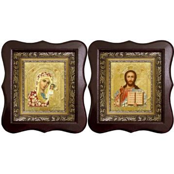 Венчальная пара Икона Спасителя и Казанской Божьей Матери 1012-ФБВП-3