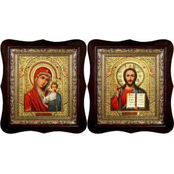 Венчальная пара Икона Спасителя и Казанской Божьей Матери 1518-ФБВП-5