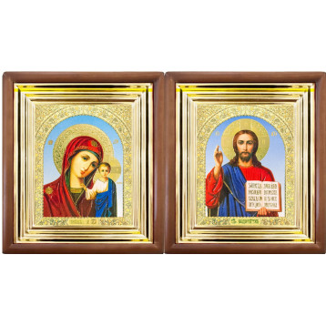 Венчальная пара Икона Спасителя и Казанской Божьей Матери 27-ВП-6